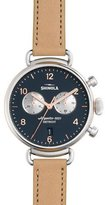 Shinola 38mm Canfield Leather Strap Watch, Natural/Siler