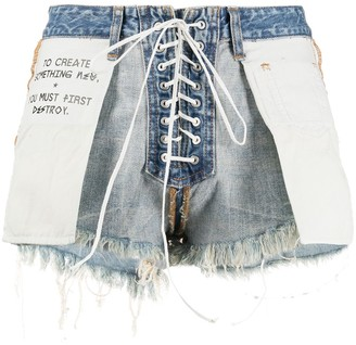 Unravel Project Distressed Reverse Laceup Shorts