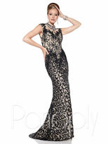 Panoply - Delicate Bejeweled High Illusion Lace Trumpet Gown 44301