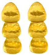 Kenneth Jay Lane Gold Plated Hammered Drop Clip On Earrings