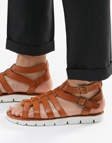 Dune Leather Sandals In Tan