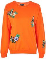 Topshop Floral Applique Sweatshirt