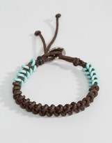 ICON BRAND Wax Cord Bracelet In Brown/Green