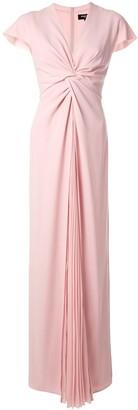 Paule Ka Pleated Front Crepe Soleil Gown