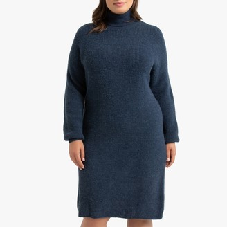La Redoute Collections Plus Ribbed Turtleneck Jumper Dress with Long Sleeves