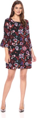 Sangria Women's Embroidered Dress with Bell Sleeves