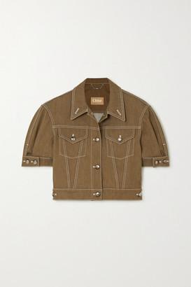 Chloé Cropped Topstitched Denim Jacket - Brown