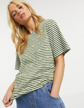 People Tree organic cotton sailor-stripe t-shirt with bee print