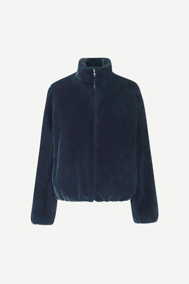 Samsoe & Samsoe Loulou navy faux fur bomber jacket - polyester | blue | medium - Blue/Blue