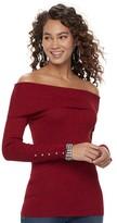 JLO by Jennifer Lopez Women's Off-the-Shoulder Glitter Sweater