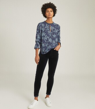 Reiss Marina - Printed Blouse With Embellishment Detail in Blue