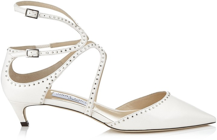 Jimmy Choo LANCER/TP 35 Chalk Nappa Leather Pointy Toe Pumps with Silver Micro Studs