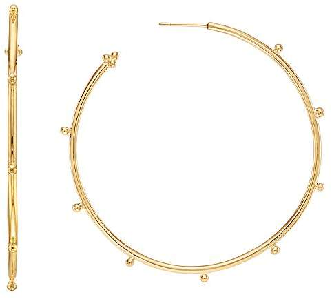 18K Yellow Gold Large Granulated Hoop Earrings