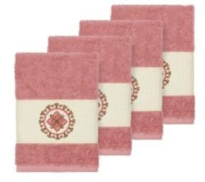 Linum Home Isabelle 4-Pc. Embroidered Turkish Cotton Washcloth Set Bedding