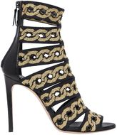 Casadei 100mm Chain Stretch Knit Cage Sandals