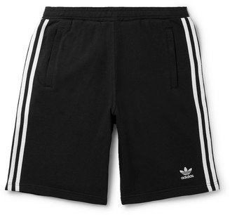 adidas Logo-Embroidered Striped Loopback Cotton-Jersey Shorts