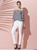 New York & Co. Soho Jeans - Embroidered Skinny - White