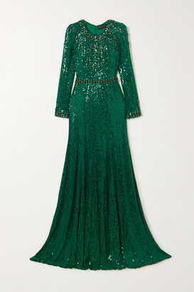 Jenny Packham Tenille Embellished Satin Gown - Forest green