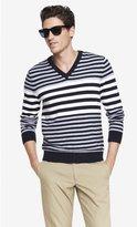 Express Mixed Stripe V-Neck Sweater