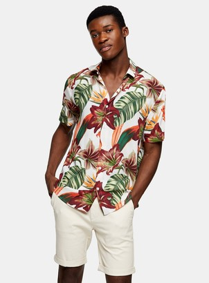 Topman Ecru Lily Floral Print Slim Shirt