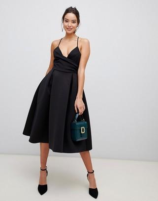 Asos Design DESIGN Scuba Cami Prom Midi Dress-Black