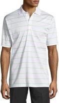 Peter Millar Striped Cotton Polo Shirt, White/Key Lime
