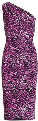 Chiara Boni Gosia Tiger-Print Ruched Sheath Dress