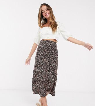 New Look Petite midi skirt in black floral pattern