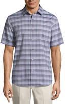 Claiborne Short Sleeve Gingham Button-Front Shirt