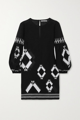 Rue Mariscal - Crochet-trimmed Embroidered Cotton-voile Mini Dress - Black
