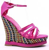 Fourever Funky FUCHSIA FAUX LEATHER STRAPPY COLOR WOVEN PLATFORM WEDGE HEEL
