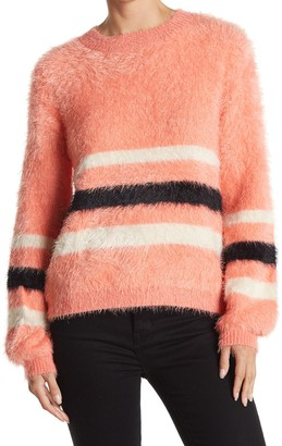 Woven Heart Eyelash Knit Stripe Sweater