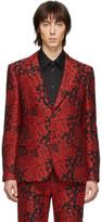 Alexander McQueen Black and Red Ivy Creeper Blazer
