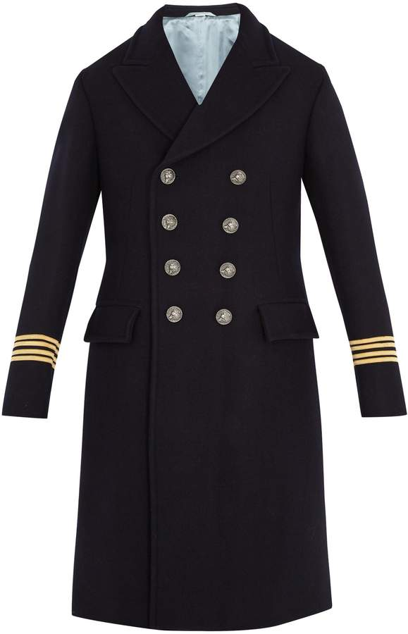Gucci Fish-appliqué wool coat