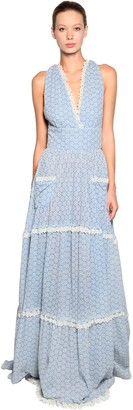 Luisa Beccaria Long Cotton Eyelet Lace Dress