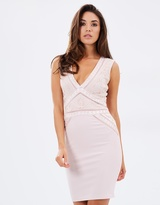 Lipsy Cornelli Trim V-Neck Body-Con Dress