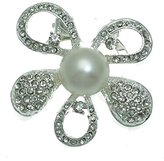 AJ Fashion Jewellery Laurus tone Crystal faux Pearl Scarf Clip