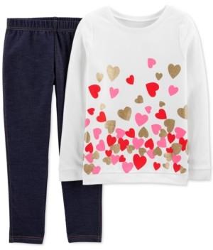 Carter's Little & Big Girls 2-Pc. Glitter Hearts Top & Knit Denim Pants Set