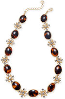 Charter Club Gold-Tone Tortoise-Look Bead and Crystal Collar Necklace, Created for Macy's