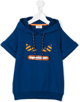 Fendi shortsleeved drawstring hoodie - kids - Cotton/Spandex/Elastane - 6 yrs