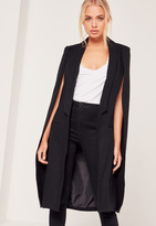 Missguided Faux Wool Cape Coat Black