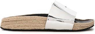 Alexander Wang Faux Mirrored-leather Espadrille Slides