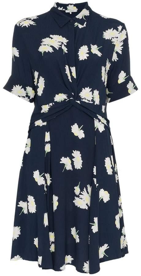 Ganni floral print knotted waist shirt dress