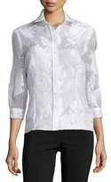 Carolina Herrera Floral Jacquard Button Blouse
