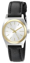 Nixon Women's A5091884 Small Time Teller Two-Tone Watch with Black Leather Band