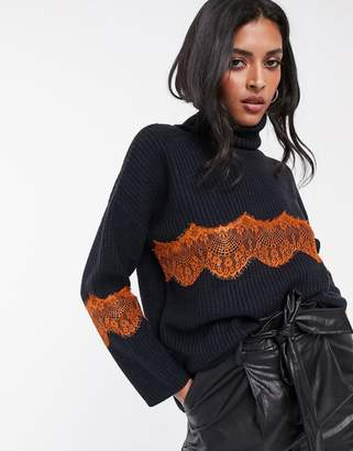 Lost Ink high neck jumper with lace inserts-Navy