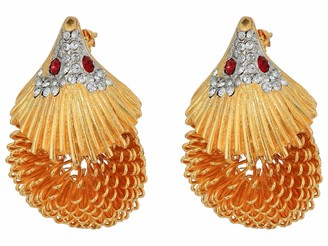 Kenneth Jay Lane Hedgehog Pin Gold/Rhine/Ruby One Size
