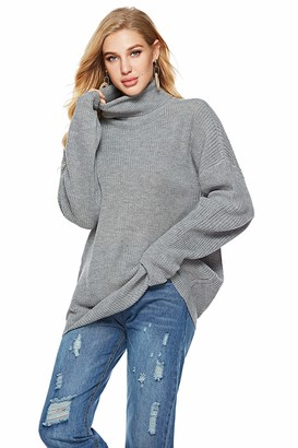 Boafig Women's Long Sleeve Loose Pullover Turtleneck Knit Sweater Jumper Top (Grey Medium)