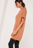 Missguided Lace Up Sleeve Sweatshirt Dress Camel