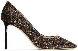 Jimmy Choo Bronze Glitter Romy 85 Heels